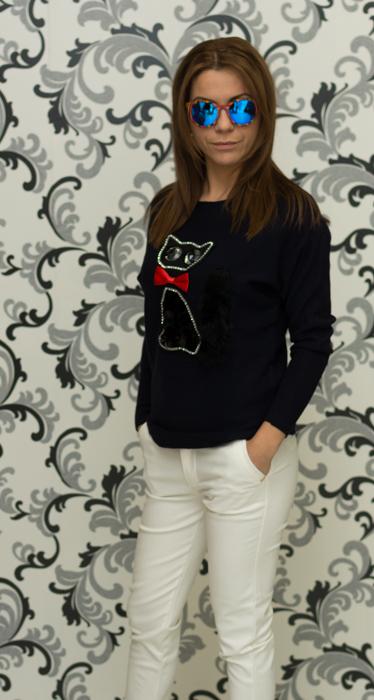 Дамска плетена блуза с коте - тъмнисиня 2