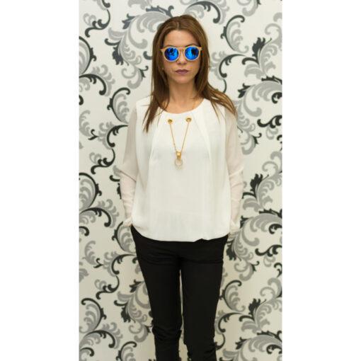 Дамска тънка блуза от шифон - бяла 1