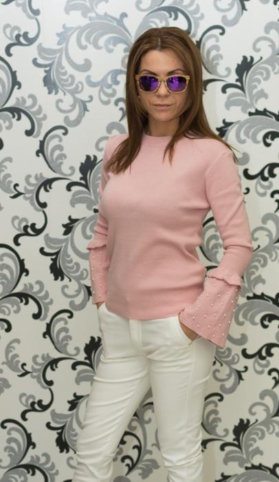 Дамска плетена блуза с перли - розова 2