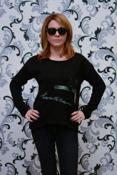 Дамска плетена асиметрична блуза - черна 1
