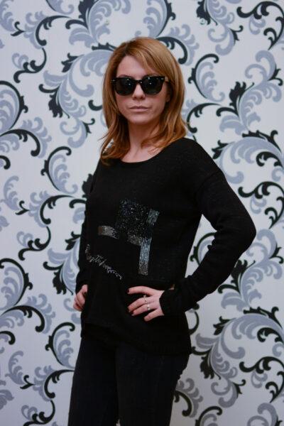 Дамска плетена асиметрична блуза - черна 2