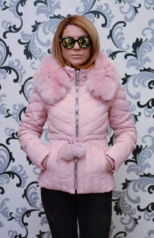 Дамско късо яке с качулка - цвят  розово 1