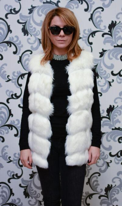 Дамски еко елек - бял цвят 1