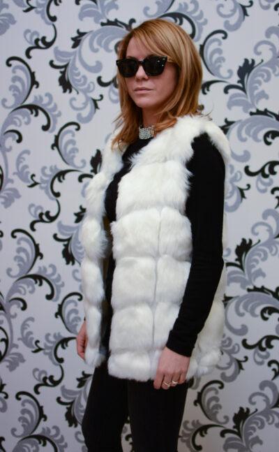 Дамски еко елек - бял цвят 2