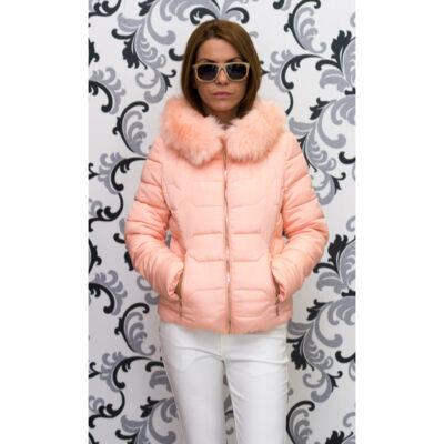 """Дамско късо яке - цвят """"праскова"""" 1"""
