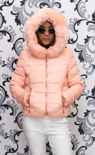 """Дамско късо яке - цвят """"праскова"""" 2"""