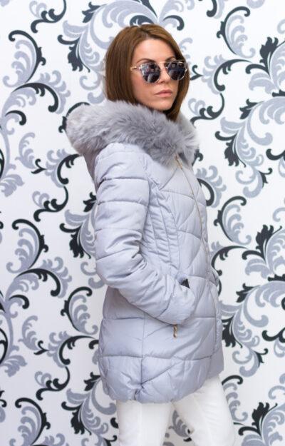 Дамско зимно вталено яке - цвят светло сив 2