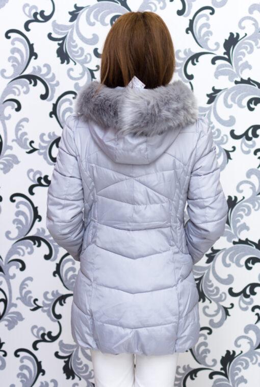 Дамско зимно вталено яке - цвят светло сив 4