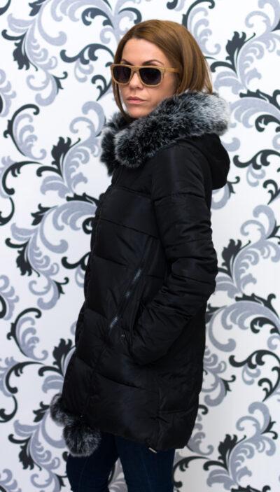 Дамско яке тип дълга парка - черно със звезда 4