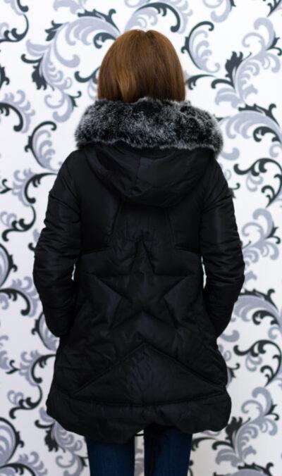 Дамско яке тип дълга парка - черно със звезда 3
