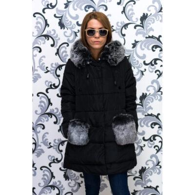 Дамско яке тип дълга парка - черно 1
