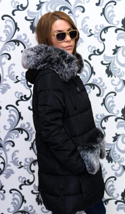 Дамско яке тип дълга парка - черно 4