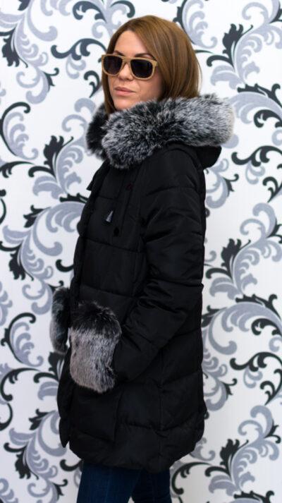 Дамско яке тип дълга парка - черно 3