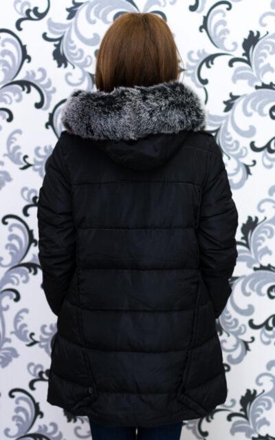 Дамско яке тип дълга парка - черно 5
