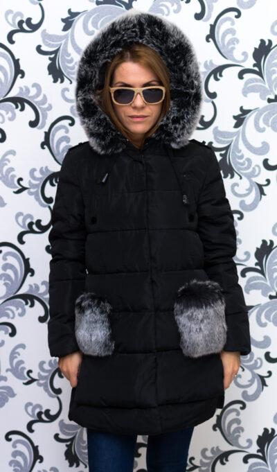 Дамско яке тип дълга парка - черно 2