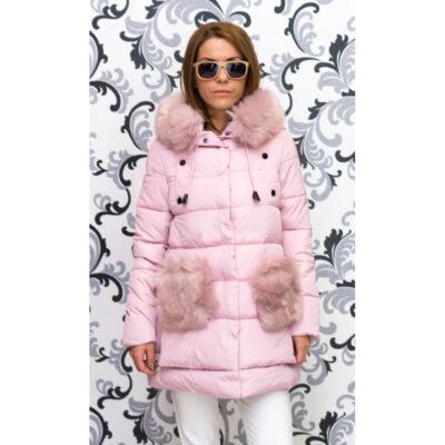 Дамско яке тип дълга парка - розово 1