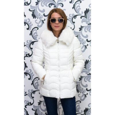 Дамско зимно яке със средна дължина - шампанско 1