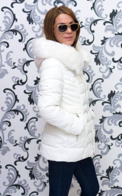 Дамско зимно яке със средна дължина - шампанско 5