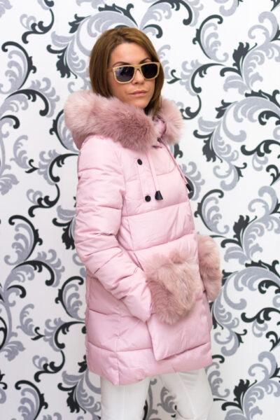 Дамско яке тип дълга парка - розово 5