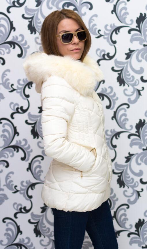 """Дамско зимно вталено яке - цвят """"шампанско"""" 3"""