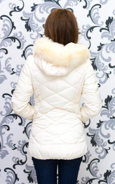 """Дамско зимно вталено яке - цвят """"шампанско"""" 4"""