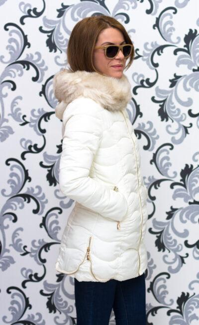 Дамско дълго яке с ципове- цвят шампанско 5