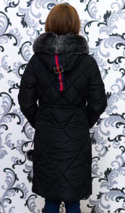 Дамско зимно дълго яке с качулка - черно 4