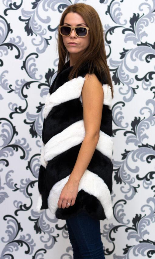 Дамски елек - черно и бяло райе 3