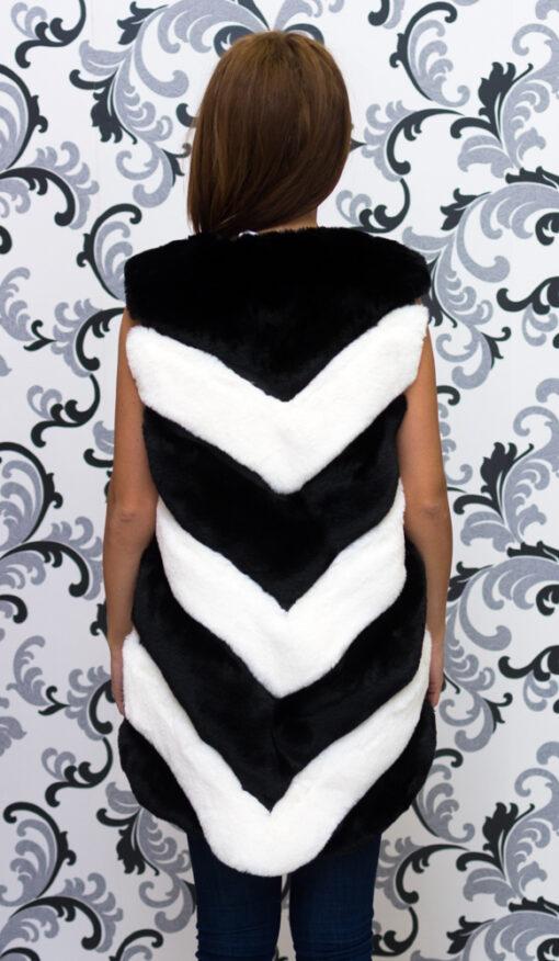Дамски елек - черно и бяло райе 2