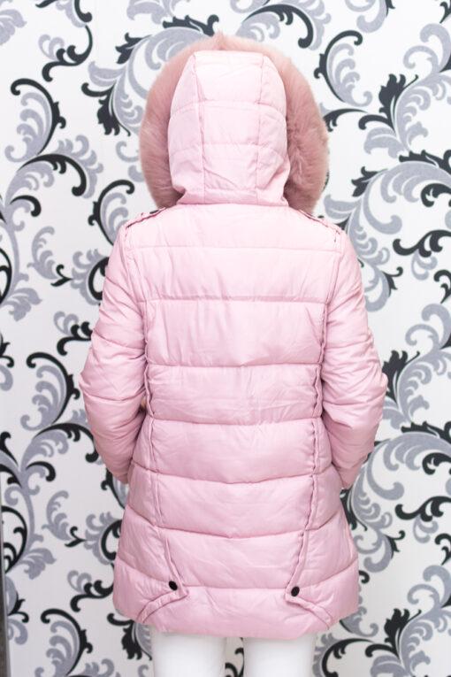 Дамско яке тип дълга парка - розово 3