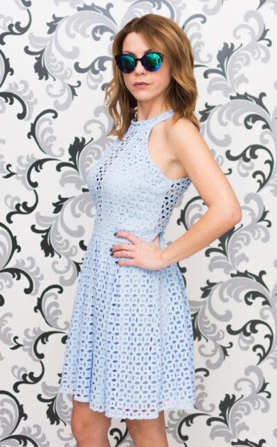 Дантелена рокля - светлосиня 1