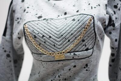 Дамска рокля -  светло сива с лого 2