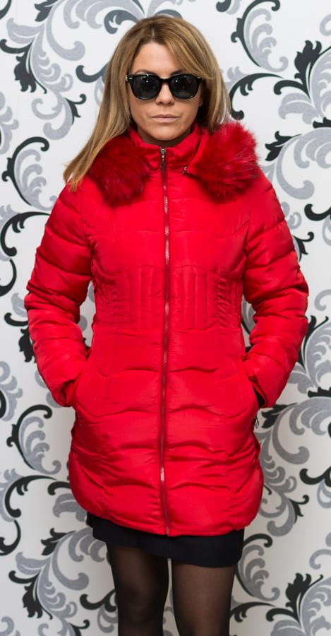 Дамско зимно вталено яке - червено 4