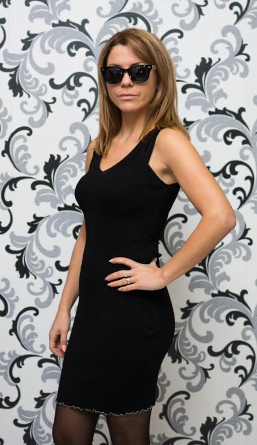 Дамска плетена рокля с презрамки - черна 2