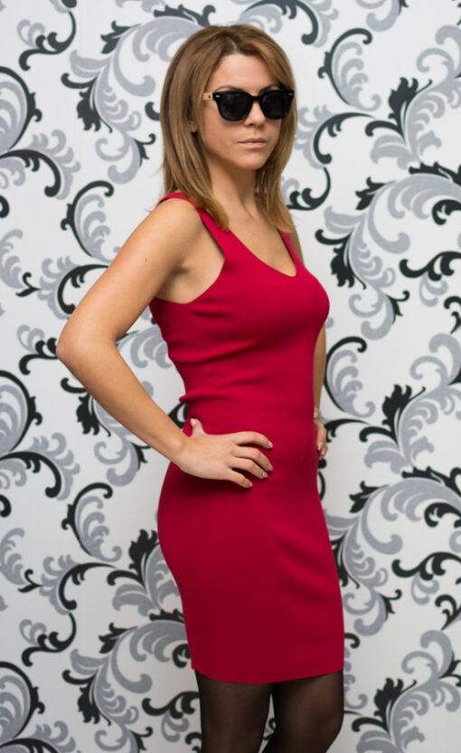 Дамска червена плетена рокля 3