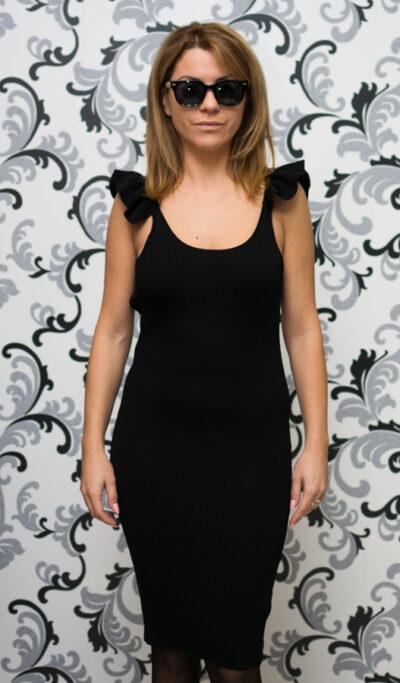 Дамска плетена рокля с гол гръб - черна 1