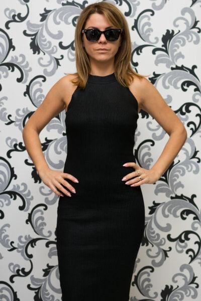 Плетена рокля - черна