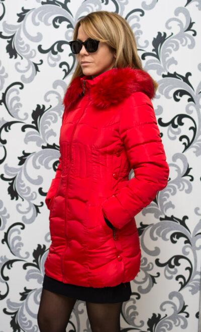 Дамско зимно вталено яке - червено 2