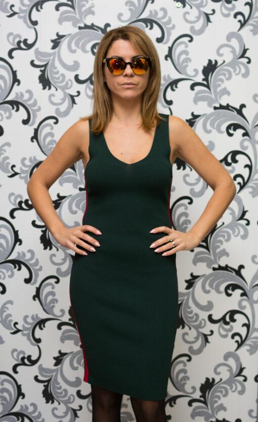 Дамска плетена рокля с кант - зелена 2