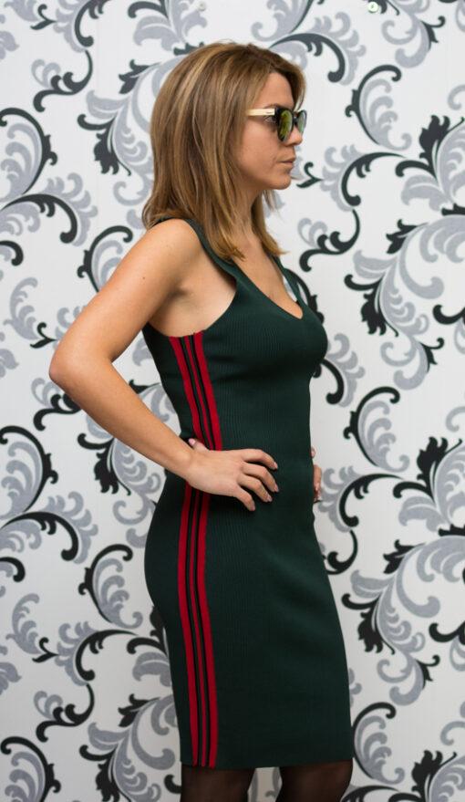 Дамска плетена рокля с кант - зелена 1