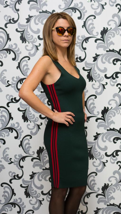 Дамска плетена рокля с кант - зелена 3