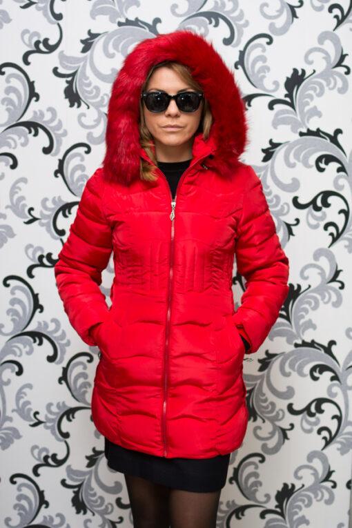 Дамско зимно вталено яке - червено 1