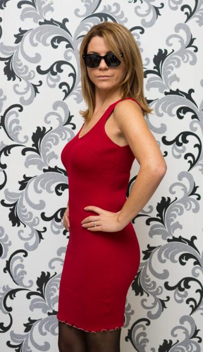 Дамска плетена рокля с презрамки - червена 4