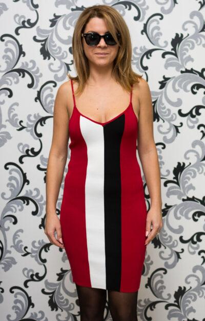 Дамска плетена рокля с тънки презрамки - червена 1