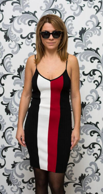 Дамска плетена рокля с тънки презрамки - черна 1
