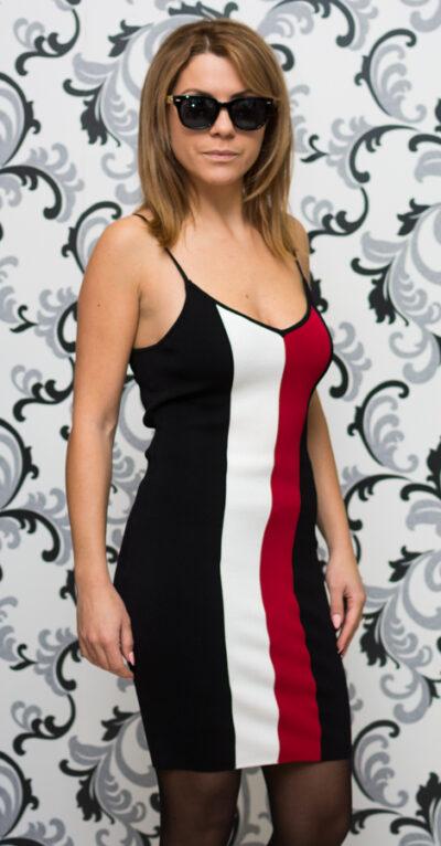 Дамска плетена рокля с тънки презрамки - черна 2