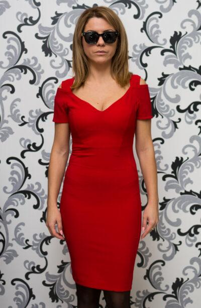 Официална червена рокля 1