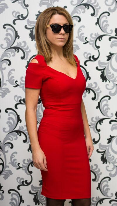 Официална червена рокля 3