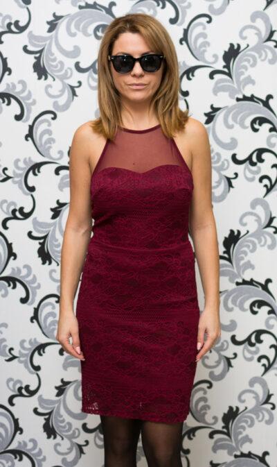 Дамска дантелена рокля - бордо 1