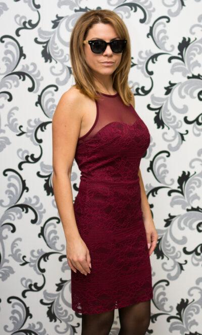 Дамска дантелена рокля - бордо 3